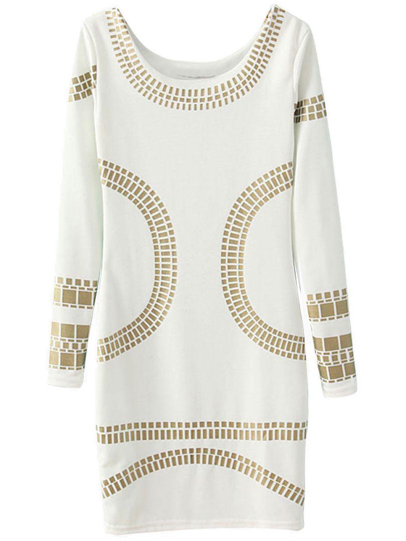on sale c970a 9968d Weiß Gold Stanzen Langarm Figurbetontes Kleid   My Style ...
