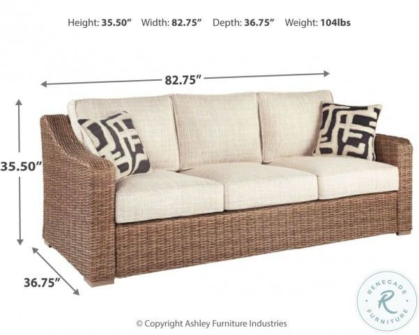 Beachcroft Beige Outdoor Sofa with Cushion in 2020 ... on Beachcroft Beige Outdoor Living Room Set  id=73082
