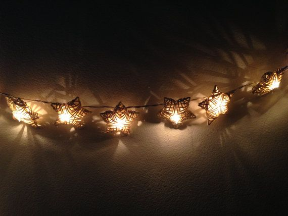 White Rattan Star String Lights For Patio Wedding Party And Decoration 20 Bulbs Fairy
