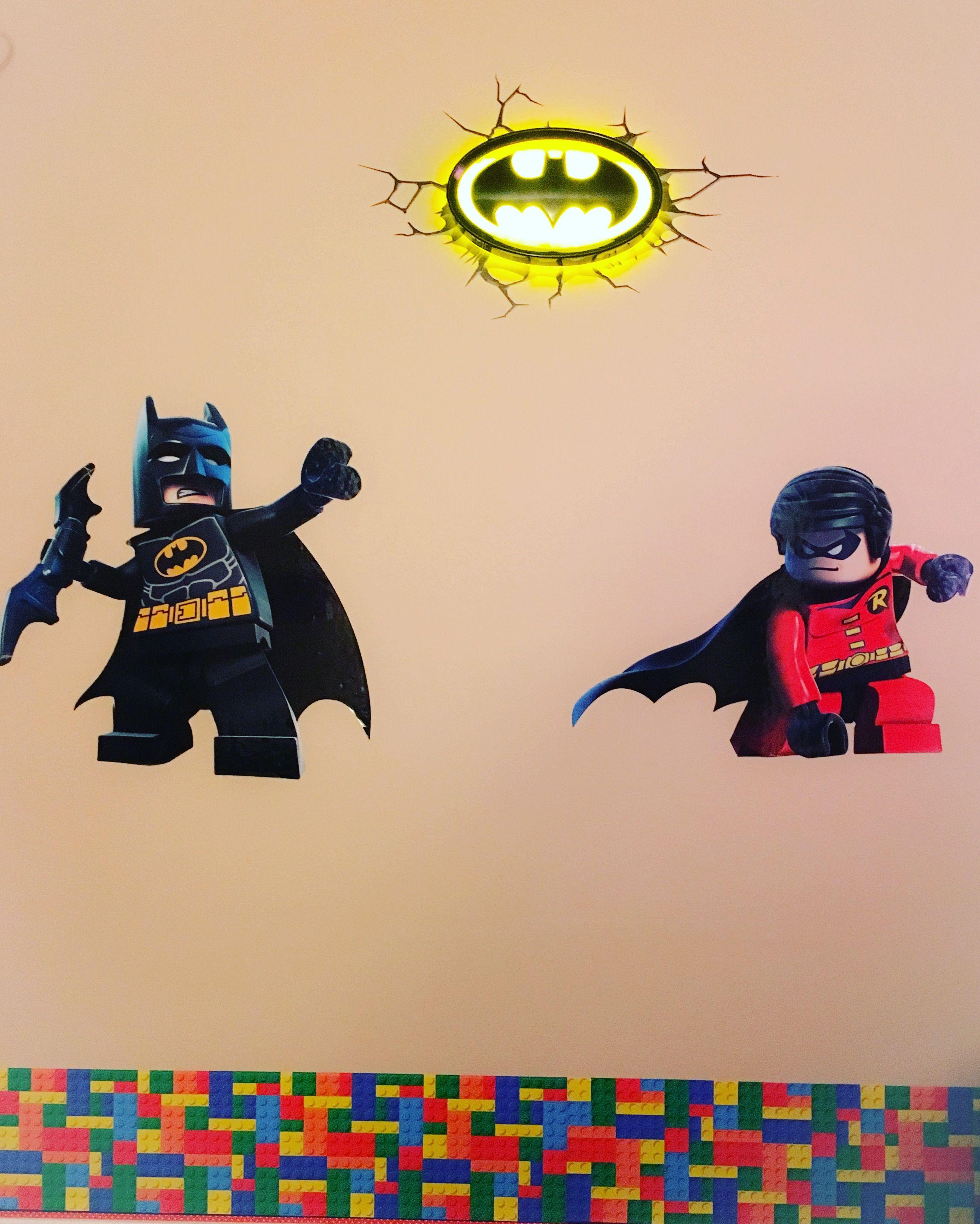 LEGO Batman and Robin decals and LEGO wallpaper border, 3D