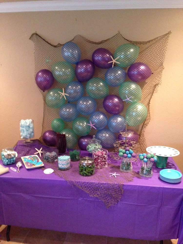 Under the sea mermaid birthday party ideas mermaid for Sea themed decorating ideas