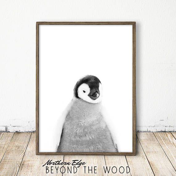 Penguin print baby penguin print arctic print baby penguin art