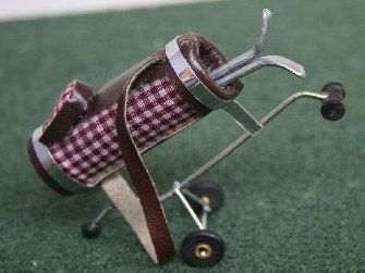 Dolls House Miniature Checked Golf Caddy in by thedollshousestore