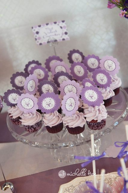 Cupcakes at a Purple Polar Bear Party #purple #cupcakes
