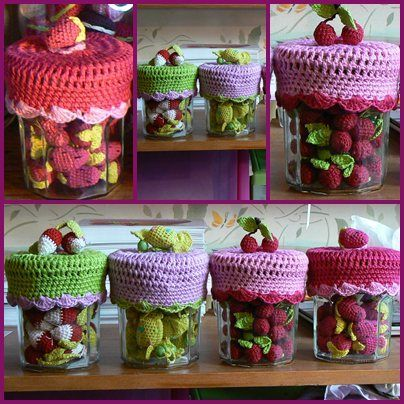 cache couvercle de pot de confiture de gourmandises en crochet couvercle confiture et pots. Black Bedroom Furniture Sets. Home Design Ideas