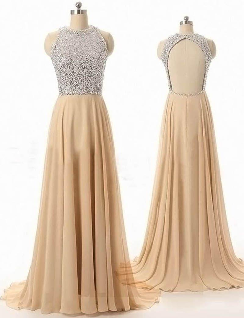 Modern aline scoop sleeveless open back beading long prom dress