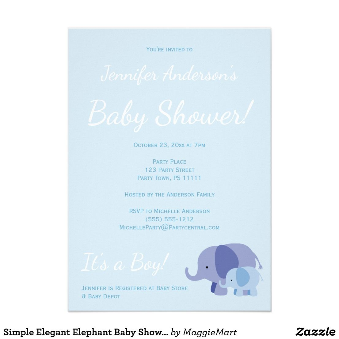 Simple Elegant Elephant Baby Shower Card | Elephant baby showers and ...