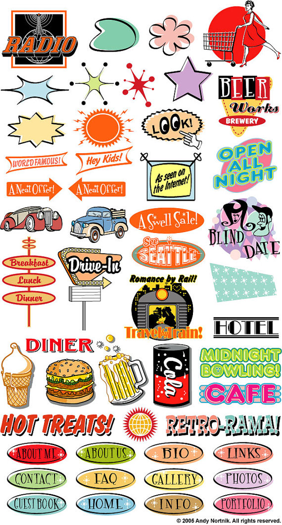 Fifties Clipart Clip Art Commercial and Personal Use