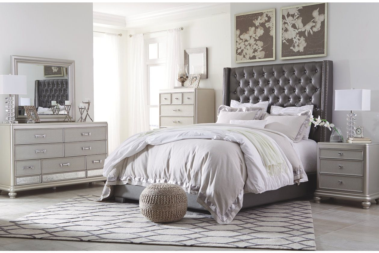 Coralayne queen upholstered bed ashley furniture