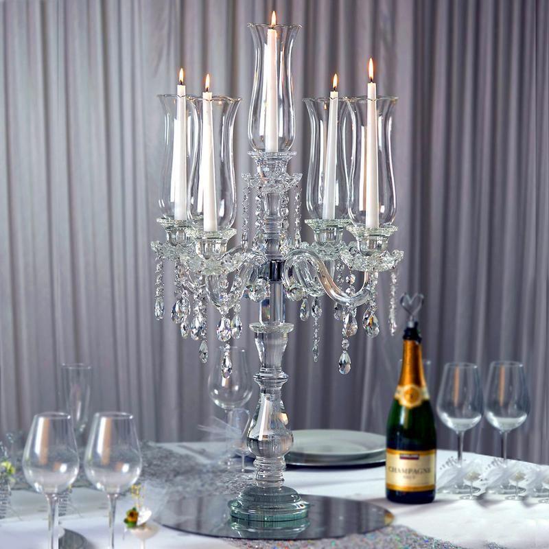 32 Tall 5 Arm Premium Hurricane Taper Crystal Glass Candle Holder Glass Candelabra Glass Candle Holders Crystal Candelabra