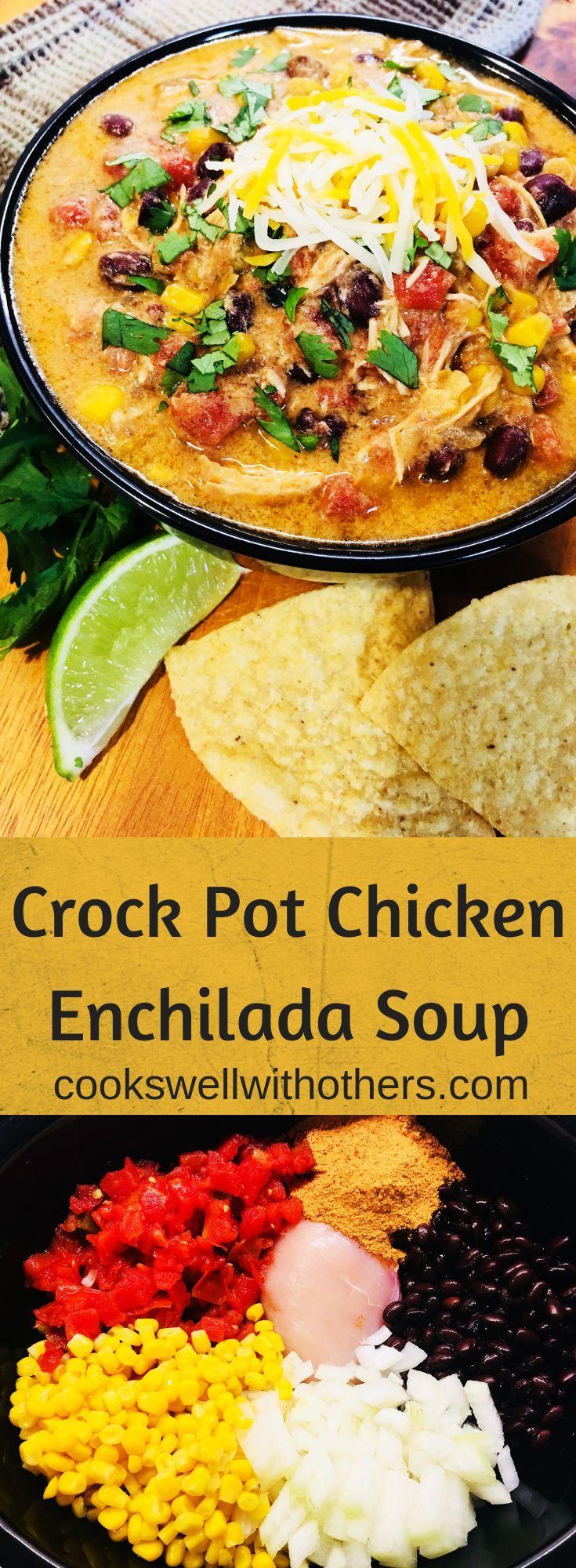 Crock Pot Chicken Enchilada Soup #crockpotmeals