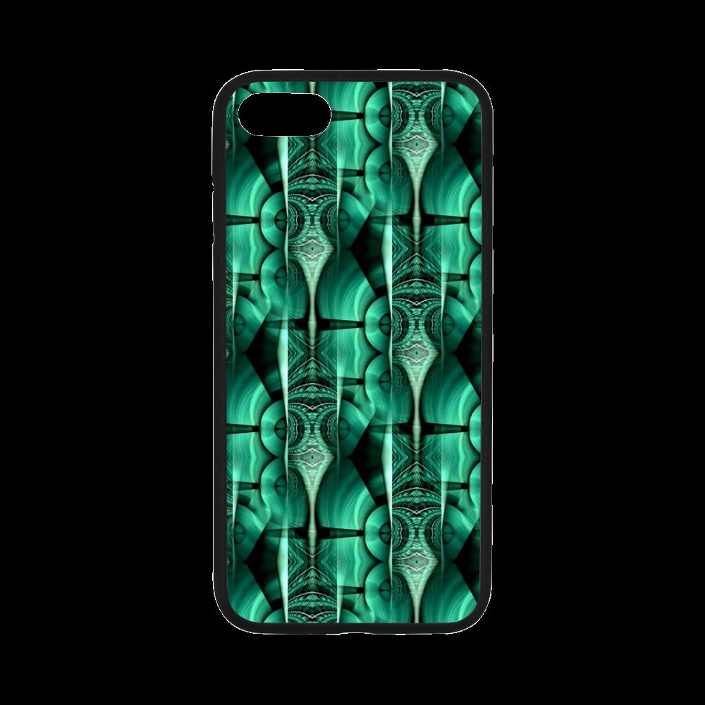 "3D Kaleidoscope MOSAIC pattern - ocean green Rubber Case for iPhone 7 4.7"""