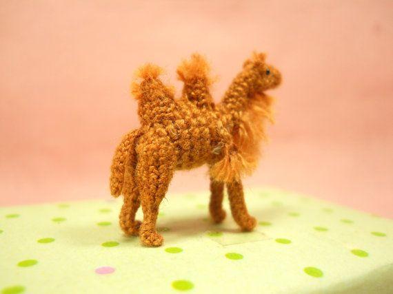 1 Inch Bactrian Camel Amigurumi Micro Miniature Crochet by SuAmi