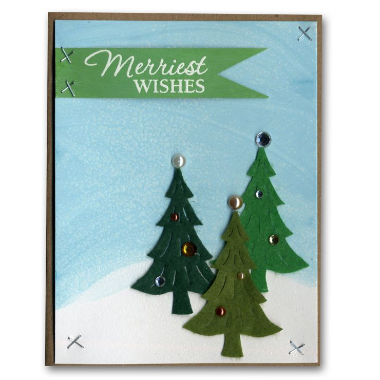 Holiday Card 45 Felt Trees