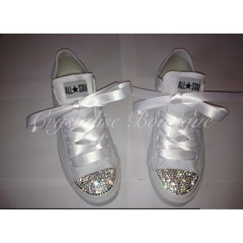 4ee01ae16 Swarovski Crystal Low White Converse - for under @Clara Huddleson 's MOH  dress??? ;D haha