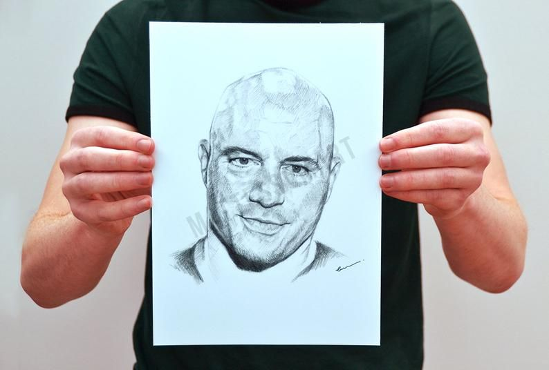 Joe Rogan Pencil Portrait Pencil Portrait Unframed Art Art Prints