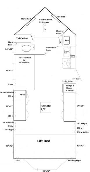 Layout for Ice Castle's fully Handicap-Accessible RV