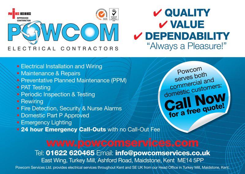 Flyer Design For POWCOM Electrical Contractors By Designerscouk