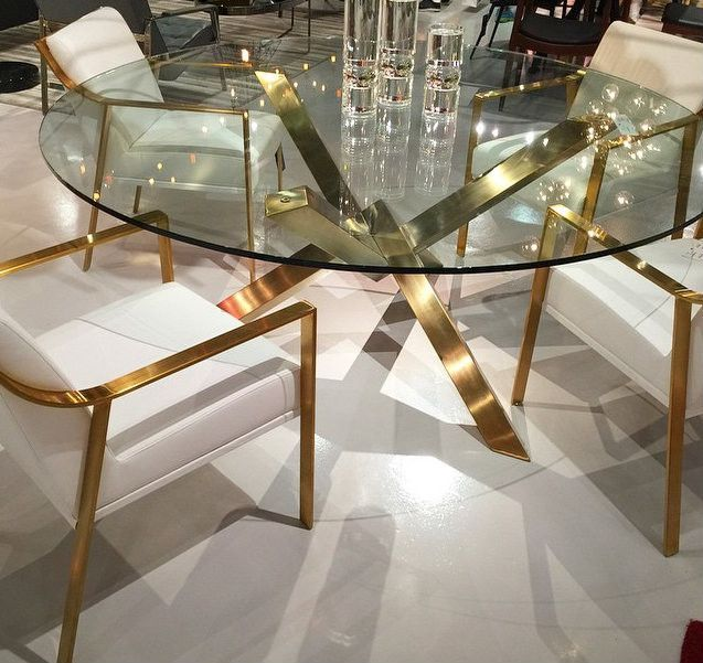 Gold Brushed Round Dining Table Decor Luxury Dining Room