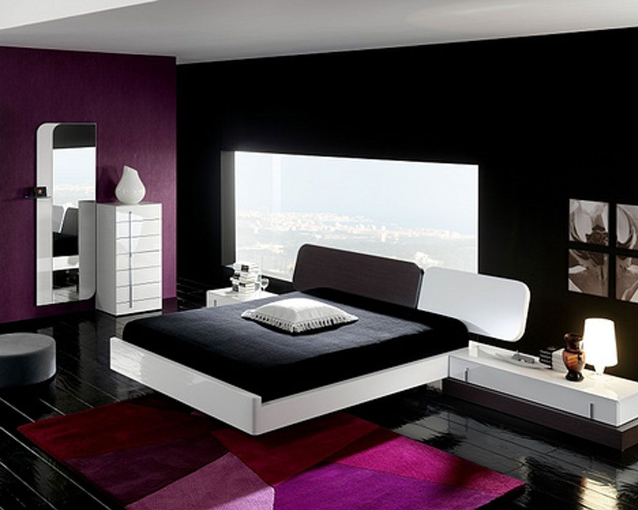 Modern Blue And Black Bedroom elegant impression at black white bedroom design - aida homes