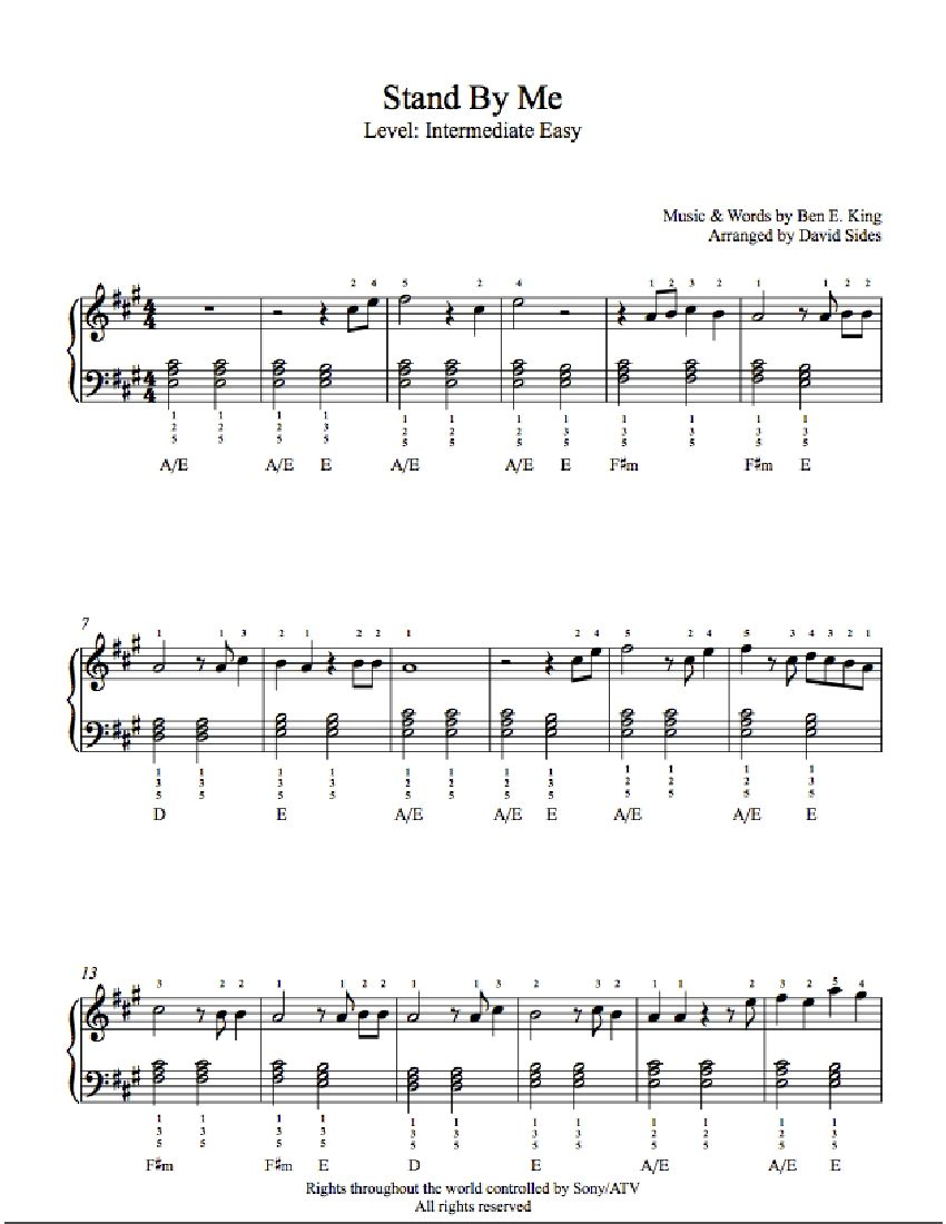 Stand By Me By Ben E King Piano Sheet Music Intermediate Level