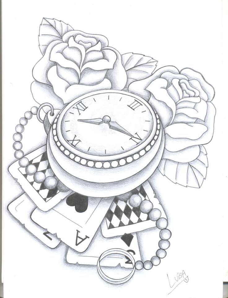 Line Drawing Clock : Design rose and clock tattoo pesquisa google outlines