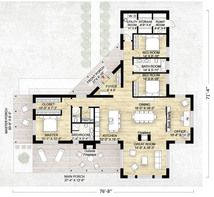 Lujoso plano de casa de campo con 3 habitaciones (202,5m2) | Porches ...
