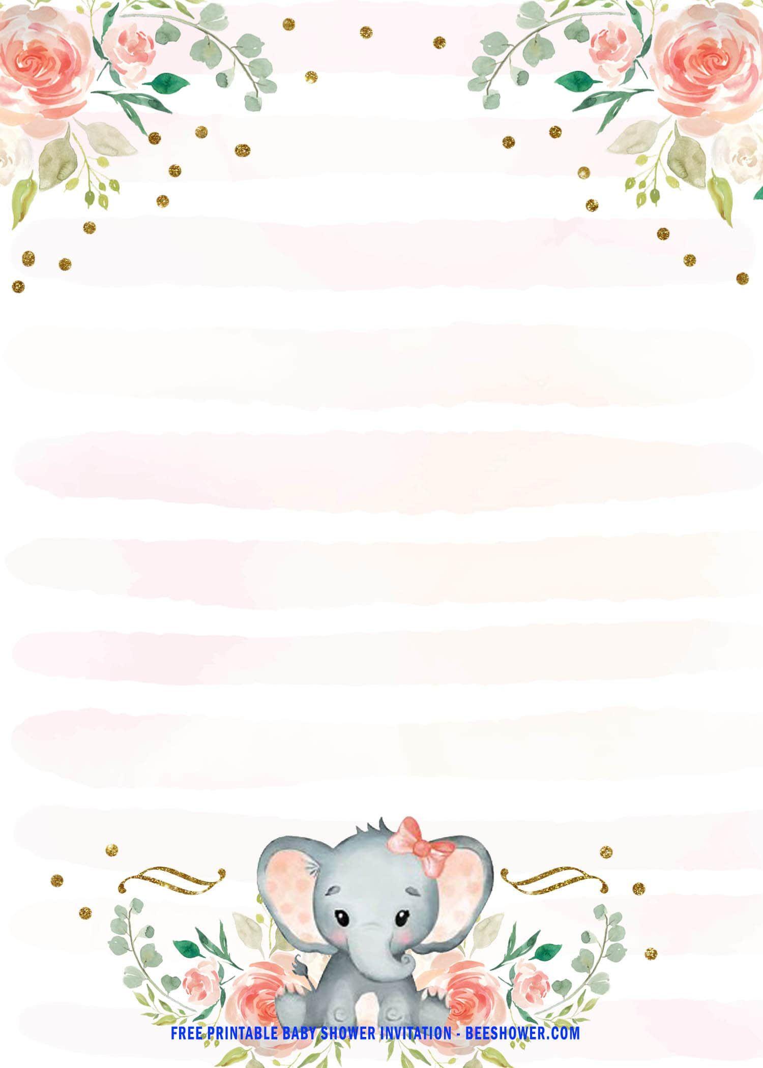 Pink Elephant Baby Shower Free Printables : elephant, shower, printables, Printable, Elephant, Shower, Invitation, Invitations,, Invitations