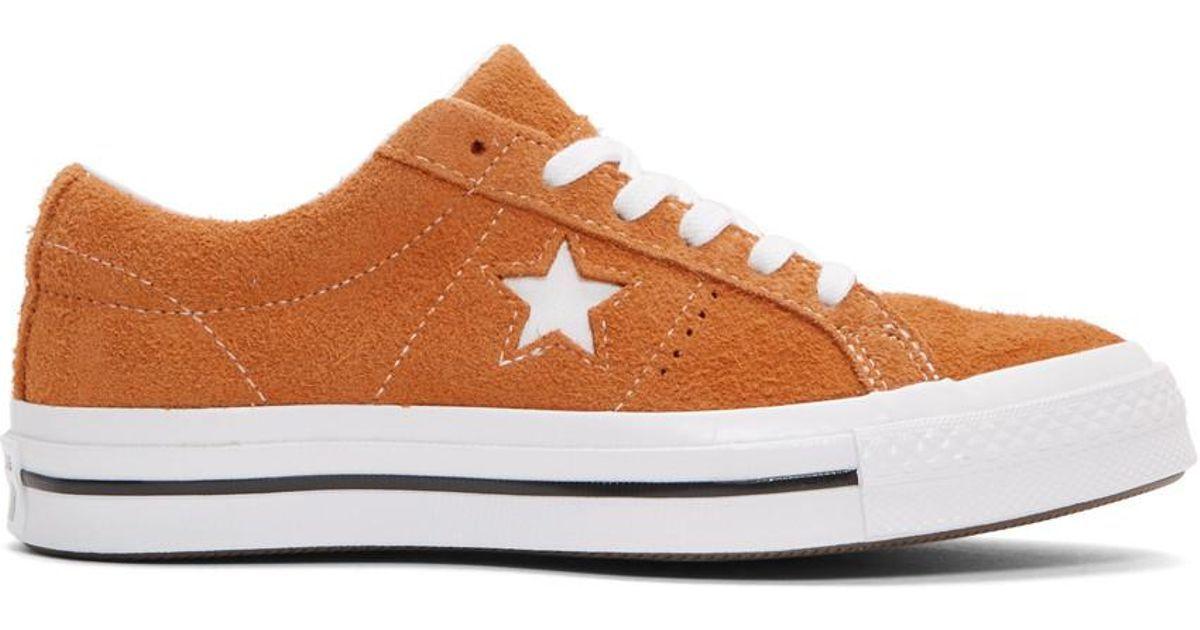 a91fa409c3d4 Converse - White Orange Suede One Star Sneakers - Lyst
