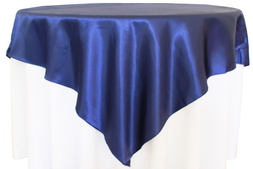 Navy Blue Satin Table Overlay Provided By Waterford Event Rentals.