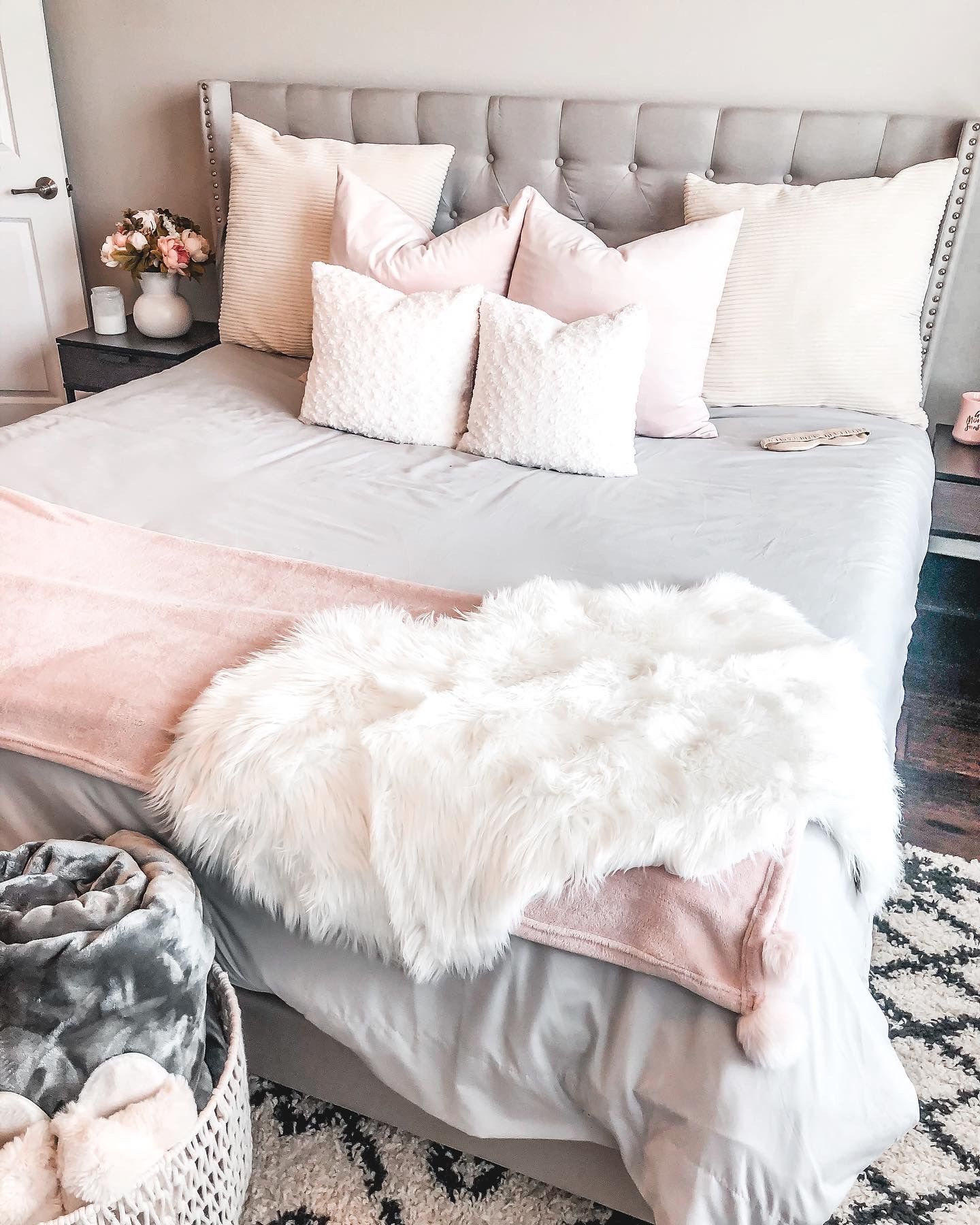 Cute and Cozy pink gray and white bedroom inspo! in 2020