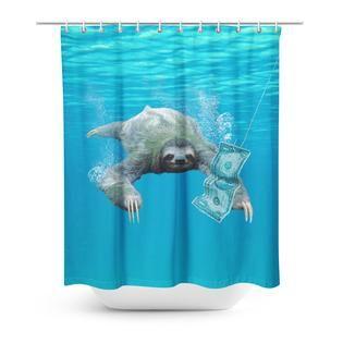 Nirvana Sloth Shower Curtain Sloth Cute Sloth Curtains