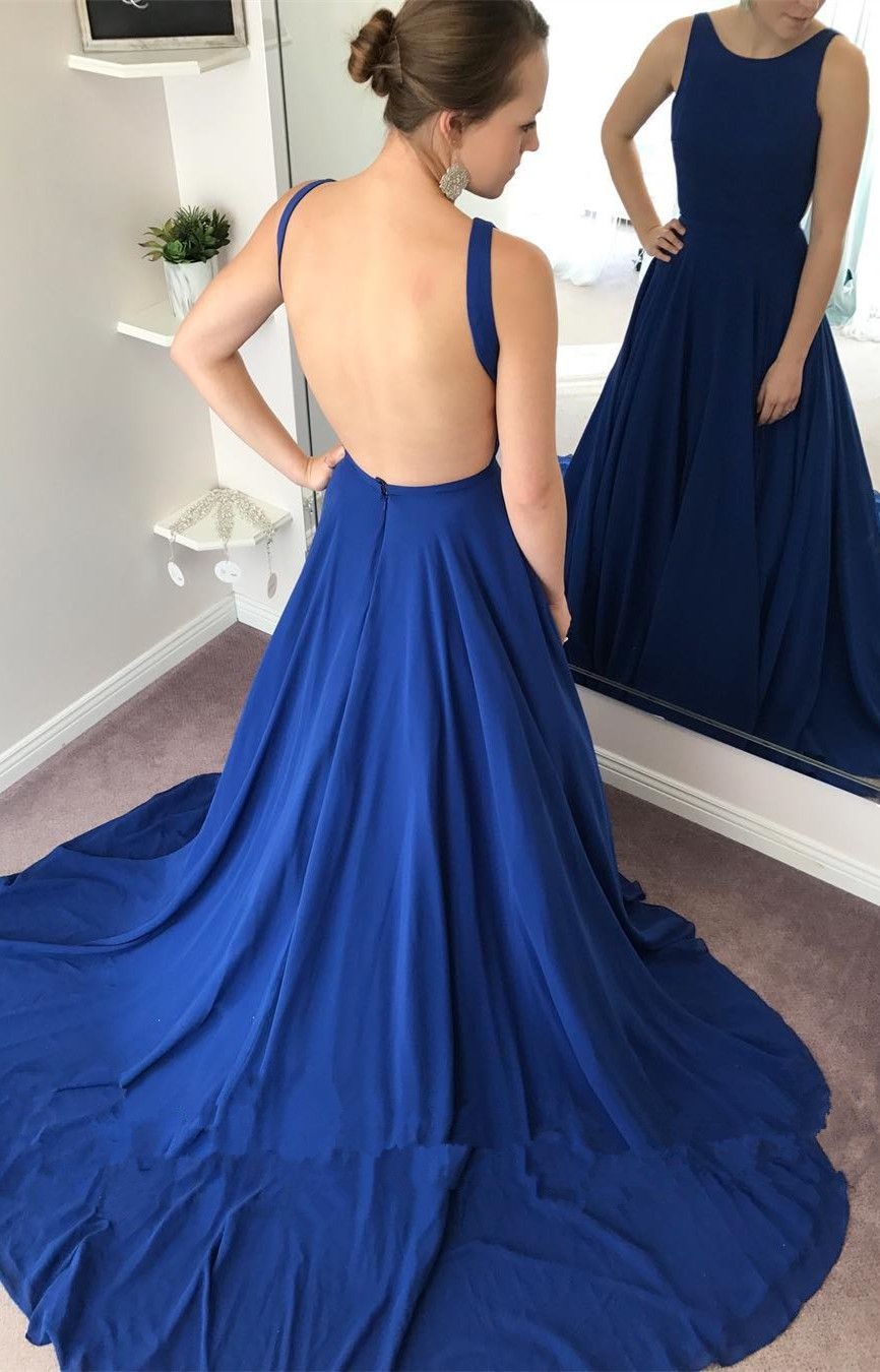 Aline round neck backless sweep train royal blue prom dress in