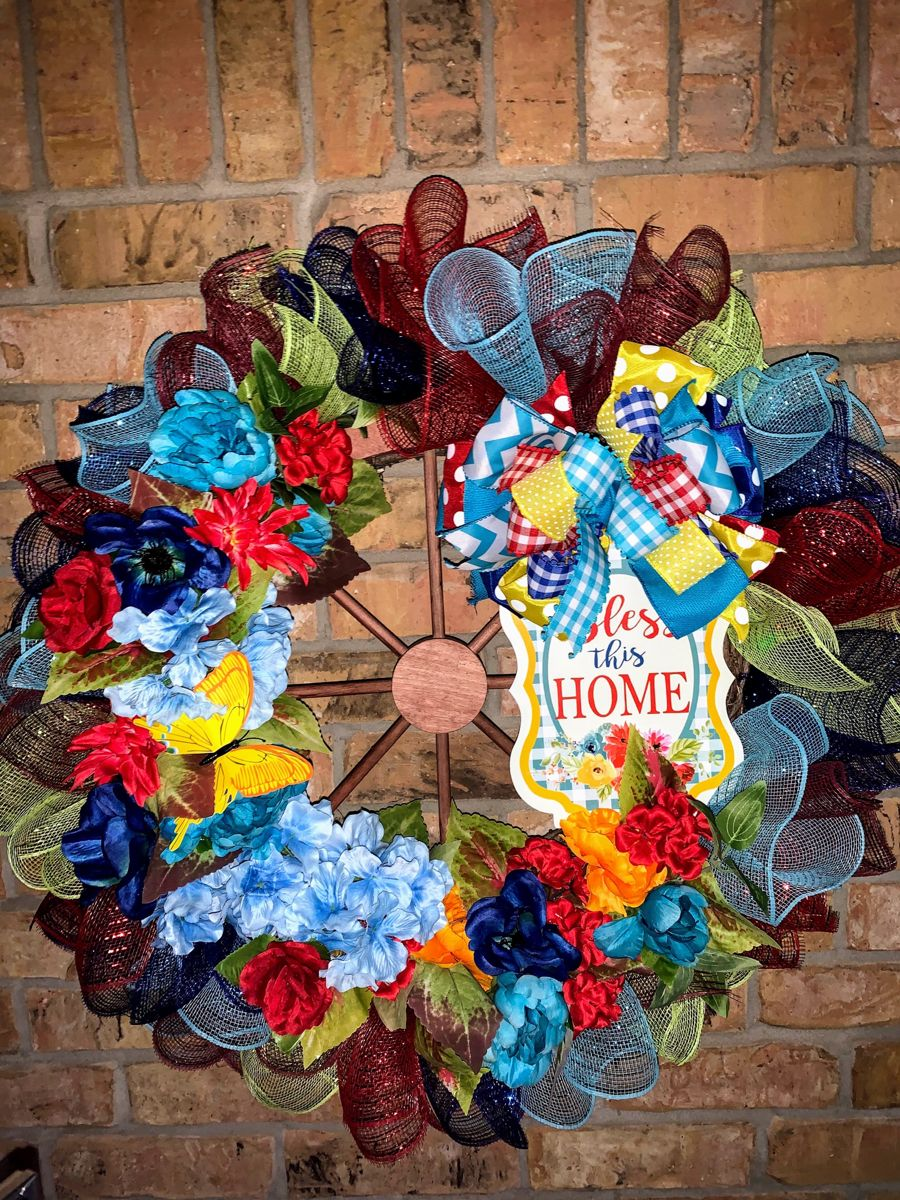 Beautiful Blooming Turquoise Cottage Rose and Red Poppy Grapevine Wreath