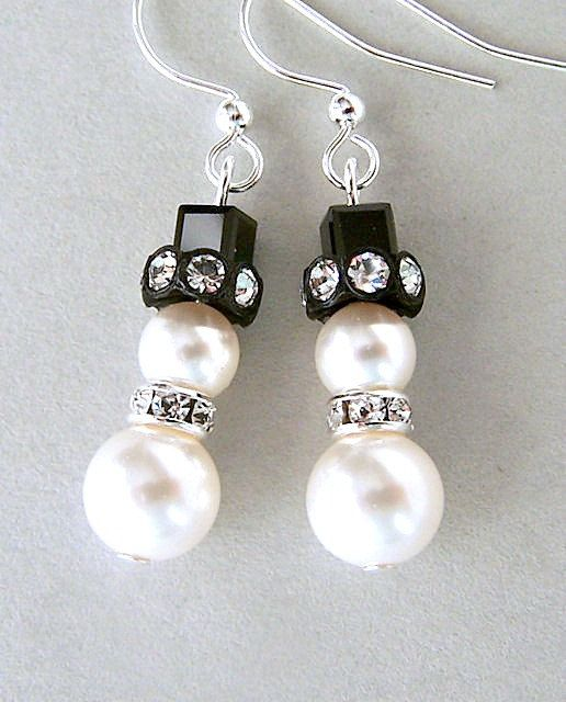 Small Snowman Earrings Swarovski Pearl And Crystal White