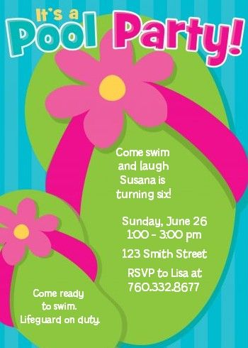 pool party for girls ideas Flip Flops Pool Party Birthday - birthday invitation swimming party