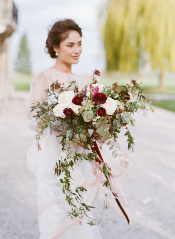 Charming burgundy wedding inspiration vaulting florals and weddings