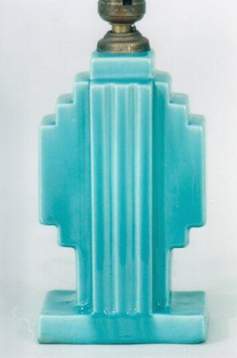 Art Deco Lamp Base  Square Modern Shape In Turquoise Glaze