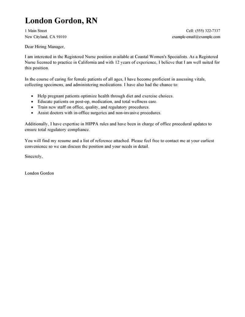 Best Registered Nurse Cover Letter Examples Cover Letter For