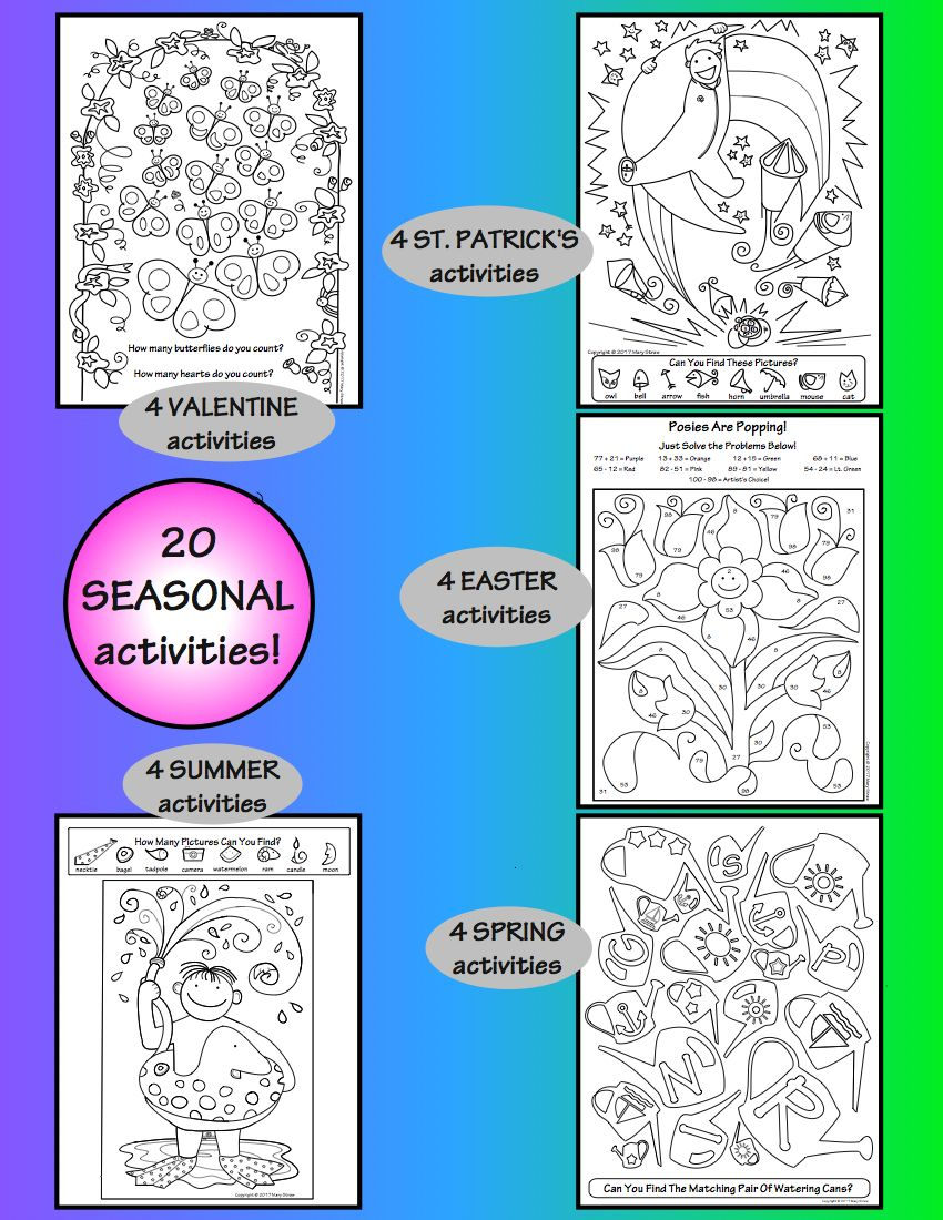 Valentine, St. Patrick\'s, Easter, Spring, Summer Activity Coloring ...