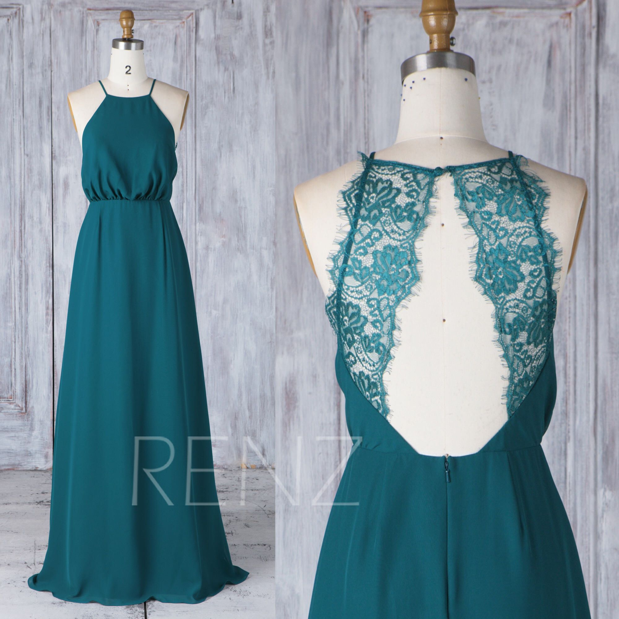 Bridesmaid dress forest green halter straps chiffon wedding dress