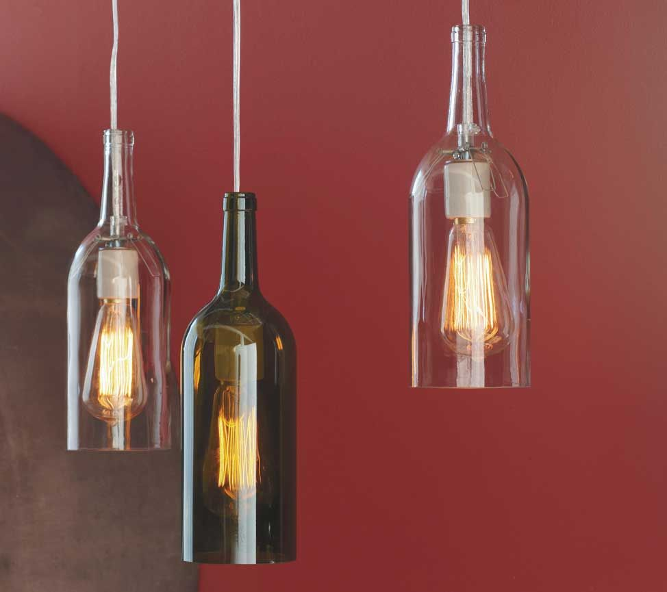 Recycled Wine Bottle Hanging Lights Wine Bottle Lamp Lighted Wine Bottles Bottle Pendant Light
