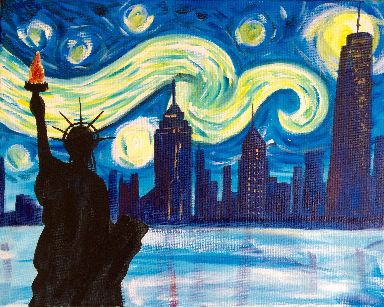 ليلة نجوم نيويورك Starry Night Van Gogh Painting Art Parody