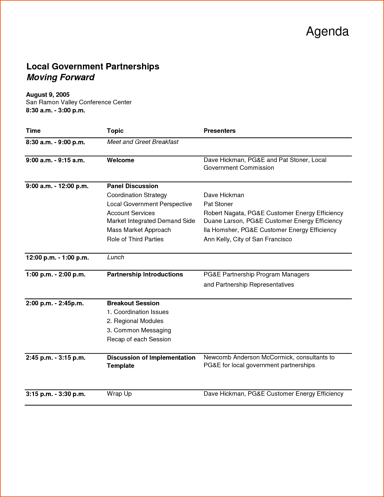 Free Agenda Template Word Conference Schedule Share Words