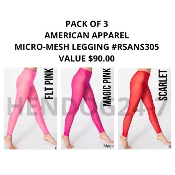 "AMERICAN APPAREL 3-PACK NYLON MICRO-MESH LEGGINGS AMERICAN APPAREL: PACK OF 3 NYLON SPANDEX MICRO-MESH LEGGINGS #RSANS305 VALUE $90  GET ALL 3 COLORS: FLUORESCENT PINK, MAGIC PINK, SCARLETT  A SEXY SHEER LEGGING THAT HITS AT THE ANKLE.   • NYLON MICRO MESH CONSTRUCTION  • 90% NYLON, 10% ELASTANE  • APPROX.  26 3/8"" INCHES INSEAM  • SINGLE LAYER MESH  • TAPERED LEG OPENING American Apparel Accessories Hosiery & Socks"