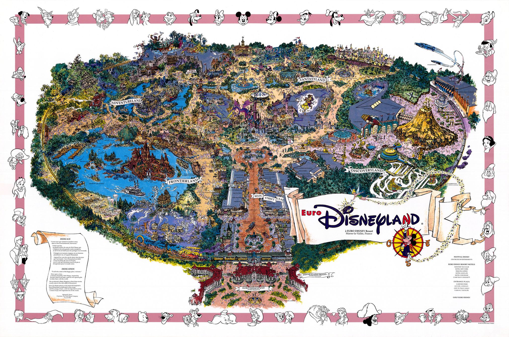 disneyland paris fun map 1992 sam mckim theme park