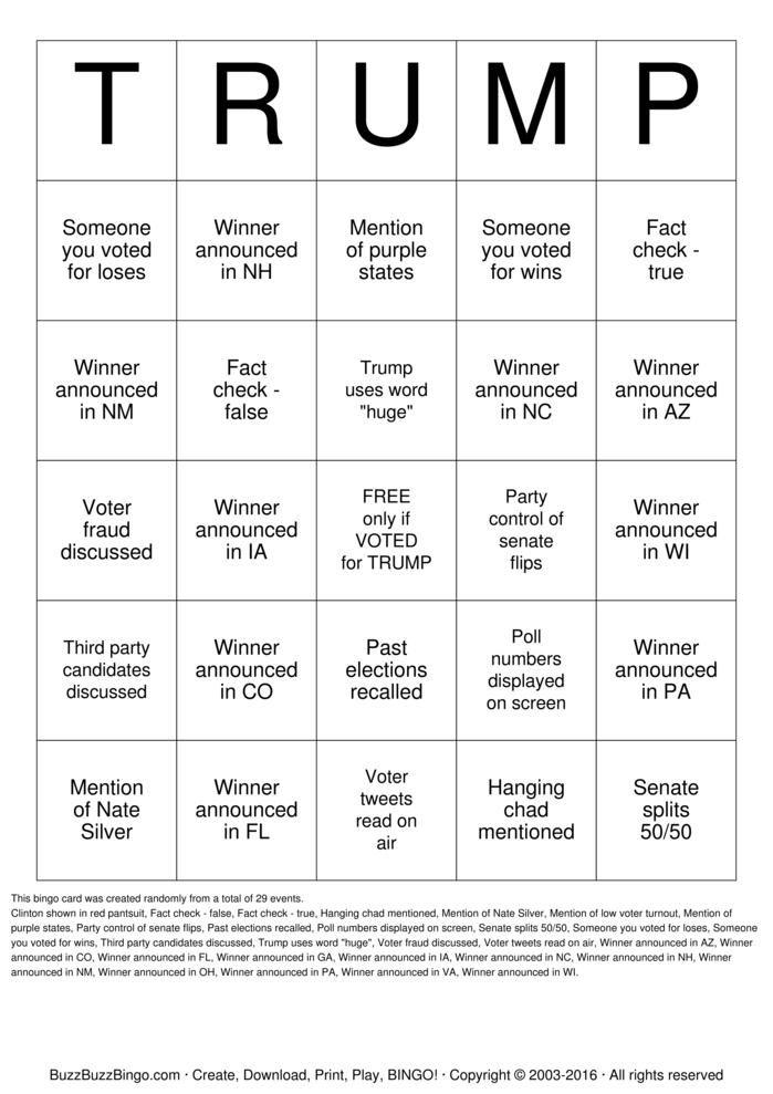 Trump Election Night Bingo Printable  Printable Games