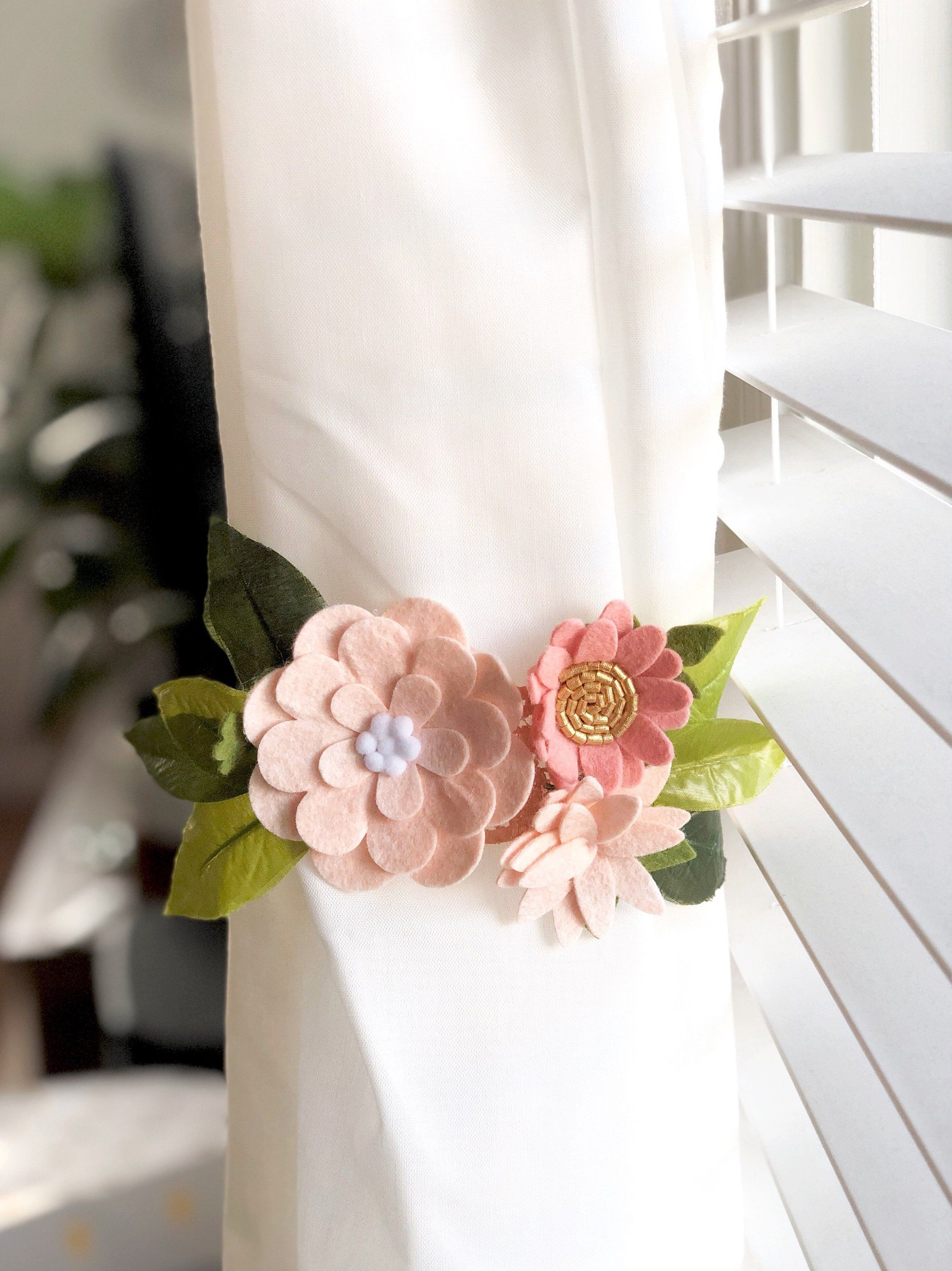 Felt Flower Curtain Tie Backs Will Be A Beautiful Addition To Any