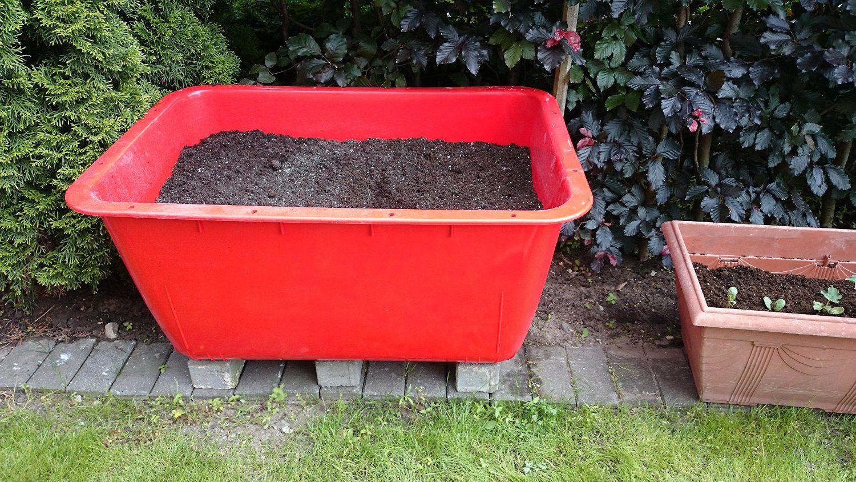 200 Liter Mortelkubel Rot Mortelwanne Blumenkubel Wasserbehalter Futtertrog Wildwanne Futterwanne Lebensmittelecht Nicht Mortelkubel Mortel Blumenkubel
