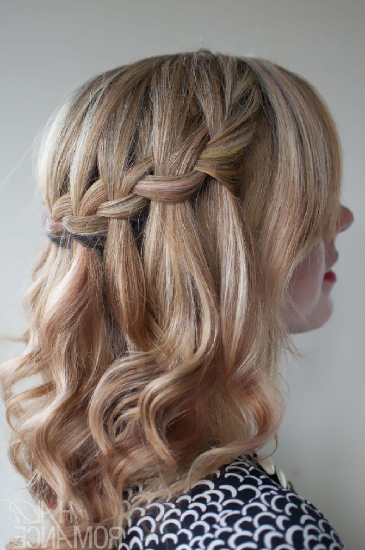 short curly hair waterfall braid